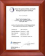 HIWIN Corporation, Taiwan Occupational Safety & Health Management System Certificate